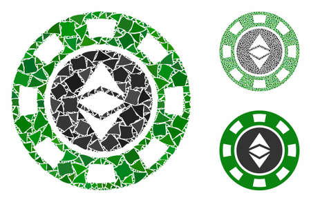 Ethereum casino chip composition of irregular items in various sizes and color tinges, based on Ethereum casino chip icon. Vector irregular items are composed into collage.