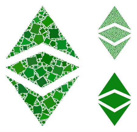 Ethereum classic composition of ragged pieces in variable sizes and color tinges, based on Ethereum classic icon. Vector uneven elements are combined into collage. Stock Illustratie