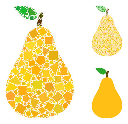 Pear mosaic of irregular elements in different sizes and shades, based on pear icon. Vector inequal pieces are grouped into mosaic. Pear icons collage with dotted pattern.