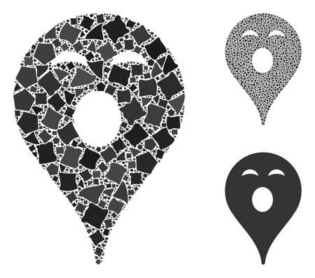 Sleepy smiley map marker composition of ragged pieces in variable sizes and color tones, based on sleepy smiley map marker icon. Vector ragged pieces are combined into composition.