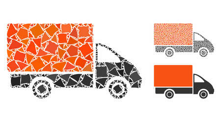 Shipment car mosaic of raggy pieces in various sizes and color tones, based on shipment car icon. Vector rough pieces are organized into collage. Shipment car icons collage with dotted pattern. Stock Vector - 133408970