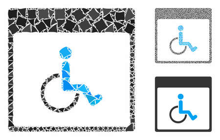Handicapped calendar page mosaic of trembly pieces in variable sizes and color tones, based on handicapped calendar page icon. Vector bumpy dots are combined into mosaic.