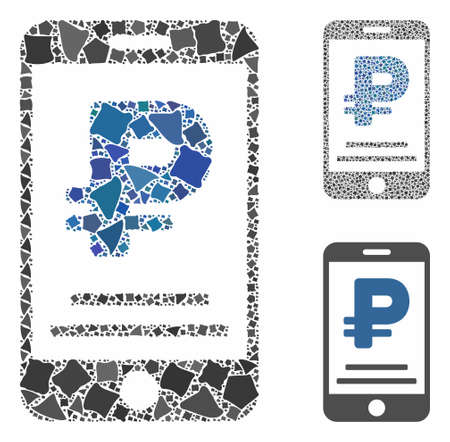Rouble mobile payment mosaic of trembly elements in various sizes and shades, based on rouble mobile payment icon. Vector bumpy items are united into collage. Фото со стока - 133409001