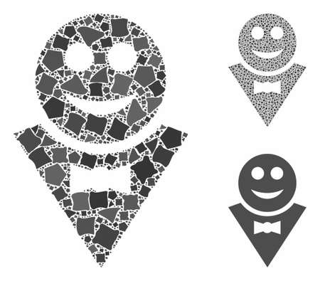 Happy waiter composition of inequal elements in different sizes and color tones, based on happy waiter icon. Vector inequal elements are organized into collage.
