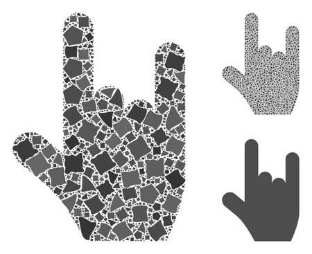 Rock gesture mosaic of tuberous pieces in various sizes and color tones, based on rock gesture icon. Vector inequal pieces are united into mosaic. Rock gesture icons collage with dotted pattern.