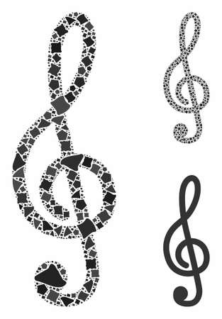 Treble clef mosaic of joggly elements in variable sizes and color tints, based on treble clef icon. Vector raggy parts are united into mosaic. Treble clef icons collage with dotted pattern. Фото со стока - 133409023