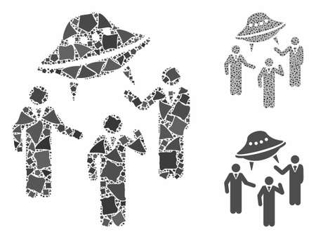UFO discussion mosaic of abrupt pieces in different sizes and color tints, based on UFO discussion icon. Vector bumpy elements are united into mosaic. UFO discussion icons collage with dotted pattern.