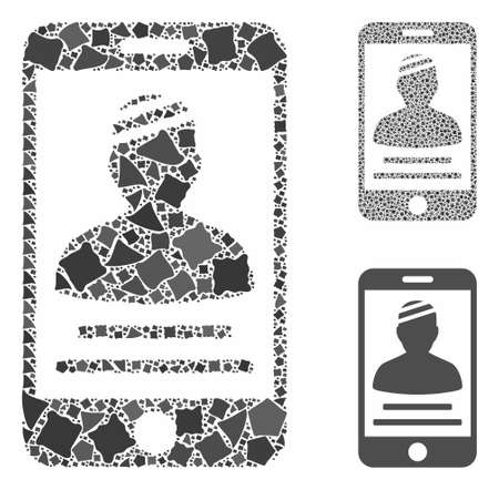 Patient mobile composition of ragged pieces in various sizes and color tinges, based on patient mobile icon. Vector ragged pieces are organized into composition.