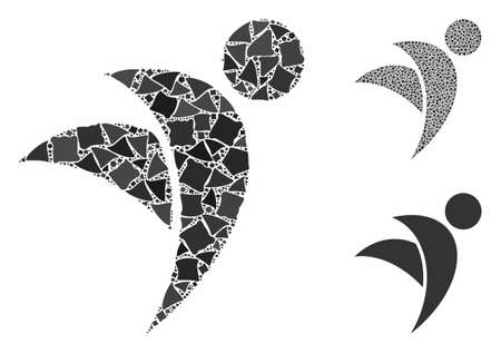 Winged man mosaic of irregular elements in different sizes and shades, based on winged man icon. Vector bumpy elements are organized into mosaic. Winged man icons collage with dotted pattern. Ilustrace