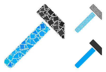 Hammer composition of uneven parts in different sizes and color tinges, based on hammer icon. Vector irregular elements are organized into composition. Hammer icons collage with dotted pattern.