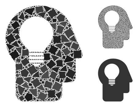 Head idea mosaic of ragged items in different sizes and shades, based on head idea icon. Vector tremulant items are grouped into mosaic. Head idea icons collage with dotted pattern. Illusztráció