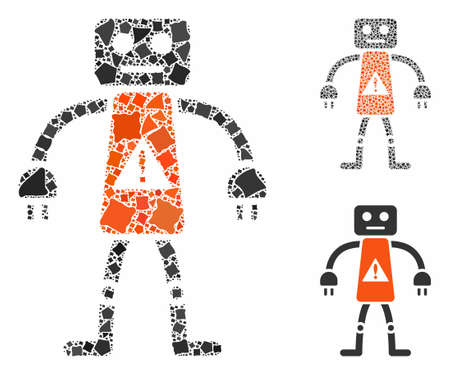 Robot danger mosaic of unequal parts in different sizes and color tinges, based on robot danger icon. Vector raggy dots are combined into mosaic. Robot danger icons collage with dotted pattern. 矢量图像