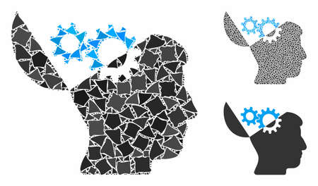 Open mind gears mosaic of irregular pieces in different sizes and color tints, based on open mind gears icon. Vector unequal pieces are organized into mosaic. Illusztráció