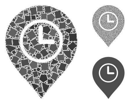 Time marker composition of irregular elements in various sizes and color tones, based on time marker icon. Vector ragged elements are organized into collage. Ilustrace