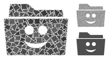 Smile folder mosaic of rugged parts in various sizes and color tones, based on smile folder icon. Vector bumpy items are combined into mosaic. Smile folder icons collage with dotted pattern.