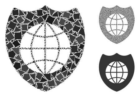Global shield composition of irregular items in variable sizes and shades, based on global shield icon. Vector irregular pieces are composed into composition.