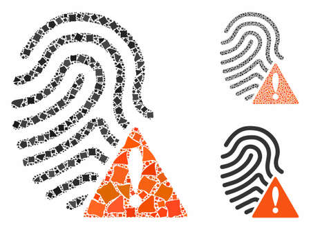 Wrong fingerprint composition of irregular parts in different sizes and shades, based on wrong fingerprint icon. Vector raggy parts are grouped into collage.