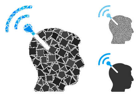Radio neural interface composition of unequal pieces in different sizes and color tints, based on radio neural interface icon. Vector ragged items are organized into collage.