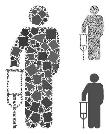 Patient crutch mosaic of ragged parts in different sizes and color tones, based on patient crutch icon. Vector ragged elements are organized into collage. Ilustrace