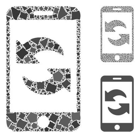 Refresh smartphone mosaic of rugged pieces in various sizes and color hues, based on refresh smartphone icon. Vector humpy pieces are grouped into mosaic.