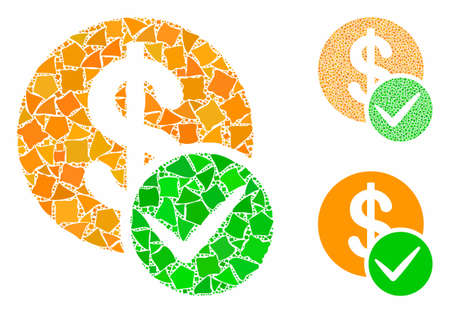 Valid dollar coin composition of rough elements in various sizes and color tones, based on valid dollar coin icon. Vector rough dots are organized into illustration.