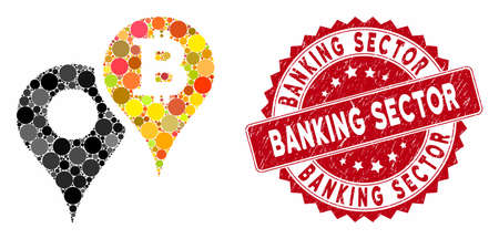 Mosaic Bitcoin map markers and grunge stamp seal with Banking Sector caption. Mosaic vector is designed with Bitcoin map markers icon and with randomized circle elements. 일러스트