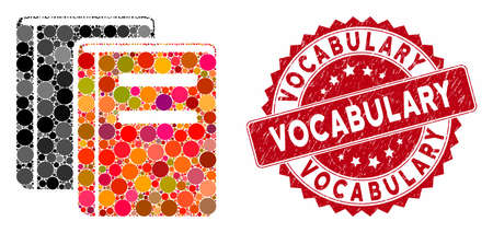 Mosaic books and distressed stamp seal with Vocabulary caption. Mosaic vector is created with books icon and with random spheric spots. Vocabulary stamp seal uses red color, and distress design.
