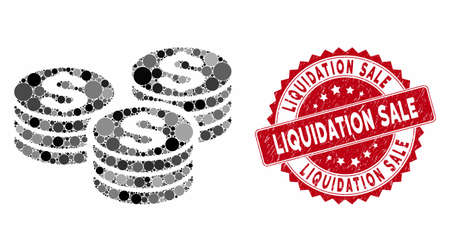 Mosaic dollar coin stacks and rubber stamp watermark with Liquidation Sale phrase. Mosaic vector is designed with dollar coin stacks icon and with scattered round elements. Ilustração