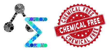 Mosaic chemical formula and rubber stamp seal with Chemical Free phrase. Mosaic vector is composed from chemical formula icon and with random circle spots. Chemical Free stamp seal uses red color, 일러스트