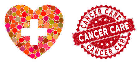 Mosaic cardiology and rubber stamp watermark with Cancer Care caption. Mosaic vector is created with cardiology icon and with random circle elements. Cancer Care stamp uses red color,