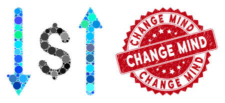 Mosaic dollar swap and rubber stamp seal with Change Mind phrase. Mosaic vector is formed from dollar swap icon and with randomized circle items. Change Mind stamp seal uses red color, Illusztráció