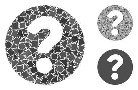 Question mosaic of abrupt elements in various sizes and color tints, based on question icon. Vector irregular elements are combined into collage. Question icons collage with dotted pattern.