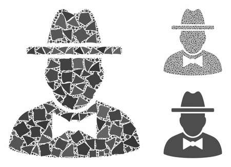 Spy mosaic of trembly pieces in variable sizes and shades, based on spy icon. Vector trembly elements are composed into collage. Spy icons collage with dotted pattern. Illustration
