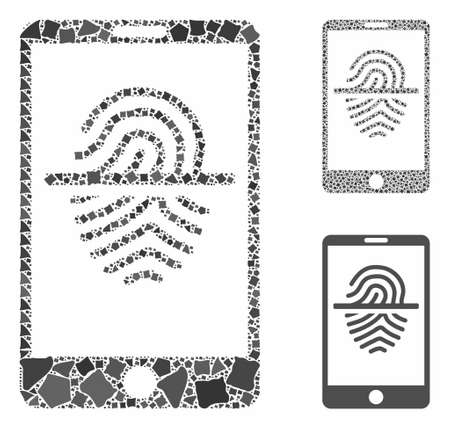 Smartphone fingerprint scanner composition of ragged parts in different sizes and color tints, based on smartphone fingerprint scanner icon. Vector joggly parts are combined into composition.