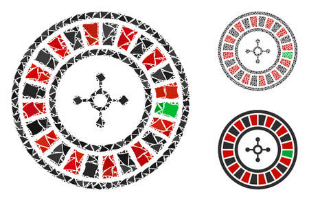 Roulette composition of raggy parts in various sizes and color tinges, based on roulette icon. Vector irregular parts are composed into collage. Roulette icons collage with dotted pattern.