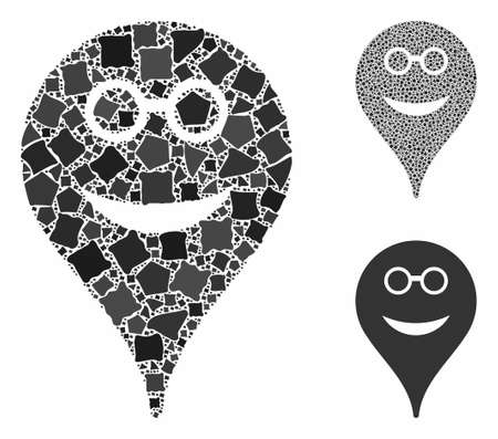 Spectacles smiley map marker composition of inequal items in different sizes and shades, based on spectacles smiley map marker icon. Vector humpy items are combined into composition. Illusztráció