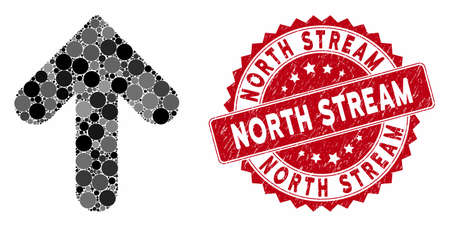 Mosaic arrow up and grunge stamp seal with North Stream phrase. Mosaic vector is designed with arrow up icon and with scattered round spots. North Stream stamp seal uses red color,