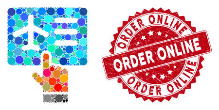 Mosaic airline ticket booking and grunge stamp watermark with Order Online phrase. Mosaic vector is designed from airline ticket booking icon and with randomized round items. Illustration