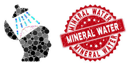 Mosaic brain washing and corroded stamp seal with Mineral Water caption. Mosaic vector is formed with brain washing icon and with scattered circle elements. Mineral Water stamp uses red color, Illusztráció