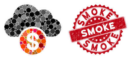 Mosaic cloud dollar and grunge stamp seal with Smoke text. Mosaic vector is formed with cloud dollar icon and with randomized spheric items. Smoke stamp seal uses red color, and rubber surface. Ilustrace