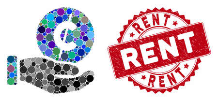 Mosaic cent payment hand and rubber stamp seal with Rent text. Mosaic vector is created with cent payment hand icon and with random spheric elements. Rent stamp seal uses red color,