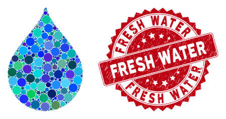 Mosaic drop and rubber stamp seal with Fresh Water text. Mosaic vector is created with drop icon and with randomized round elements. Fresh Water stamp uses red color, and rubber surface.