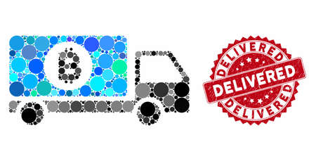 Mosaic Bitcoin delivery lorry and rubber stamp seal with Delivered text. Mosaic vector is composed with Bitcoin delivery lorry icon and with randomized round spots. Delivered stamp uses red color, Illustration