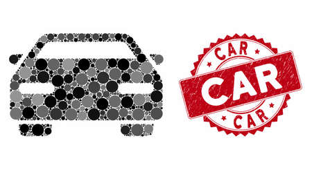 Mosaic car and rubber stamp seal with Car caption. Mosaic vector is designed with car icon and with scattered circle spots. Car stamp seal uses red color, and rubber surface. Illustration