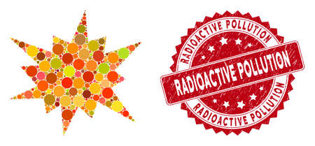 Mosaic bang and rubber stamp seal with Radioactive Pollution phrase. Mosaic vector is created with bang icon and with scattered round spots. Radioactive Pollution seal uses red color,