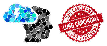 Collage brainstorming and corroded stamp seal with Lung Carcinoma text. Mosaic vector is created with brainstorming icon and with randomized circle items. Lung Carcinoma stamp seal uses red color, Illusztráció