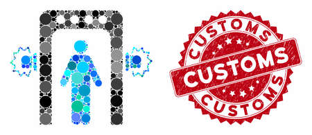 Mosaic passenger screening and rubber stamp seal with Customs caption. Mosaic vector is created with passenger screening icon and with random spheric spots. Customs stamp seal uses red color,