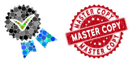 Mosaic quality badge and rubber stamp seal with Master Copy text. Mosaic vector is created from quality badge icon and with randomized spheric elements. Master Copy stamp seal uses red color,