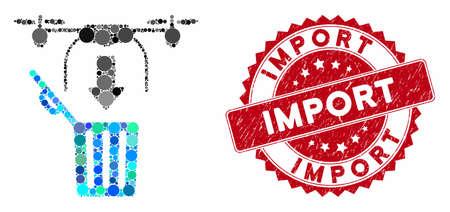 Le drone en mosaïque laisse tomber la poubelle et le sceau du timbre grunge avec la phrase d'importation. Le vecteur de mosaïque est formé avec l'icône de la poubelle de goutte de drone et avec des taches de cercle dispersées. Le sceau du timbre d'importation utilise la couleur rouge,