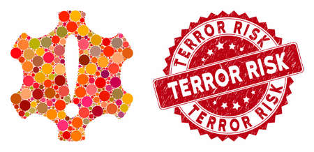 Mosaic danger and grunge stamp seal with Terror Risk text. Mosaic vector is composed from danger icon and with random round elements. Terror Risk stamp seal uses red color, and distress design.